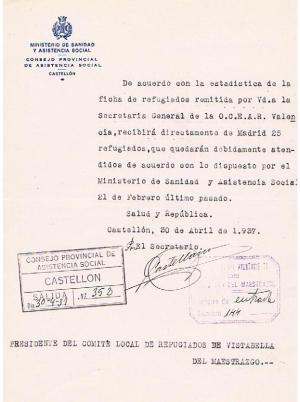 REFUGIADOS. ENVÍAN 25 EVACUADOS MADRID 30-4-37
