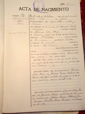 Partida de naixement d'Alejandro Folch. Registre Civil de Vistabella