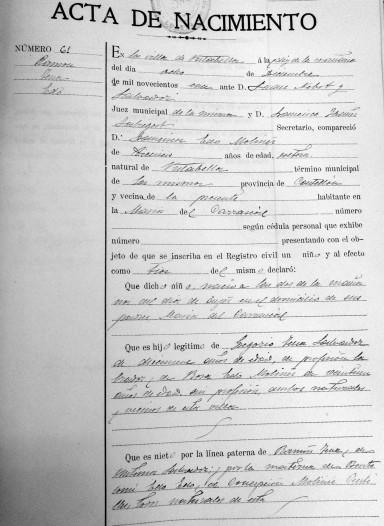 Registre de naixement de Ramón Tena Edo. Registre Civil de l'Ajuntament de Vistabella