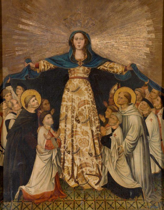 Nuestra Señora de Gracia y los grandes maestres de Montesa, temple sobre tabla, 128 x 105 cm, hacia 1412 [P02532]